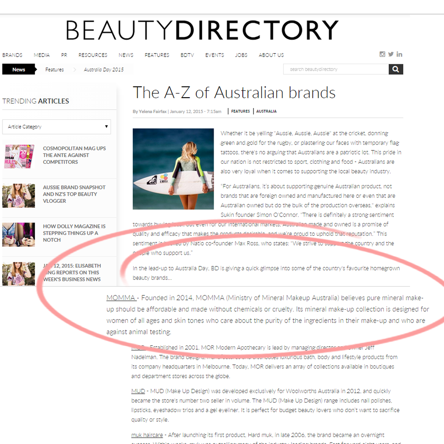 MOMMA on BeautyDirectory favourite homegrown Australian brands